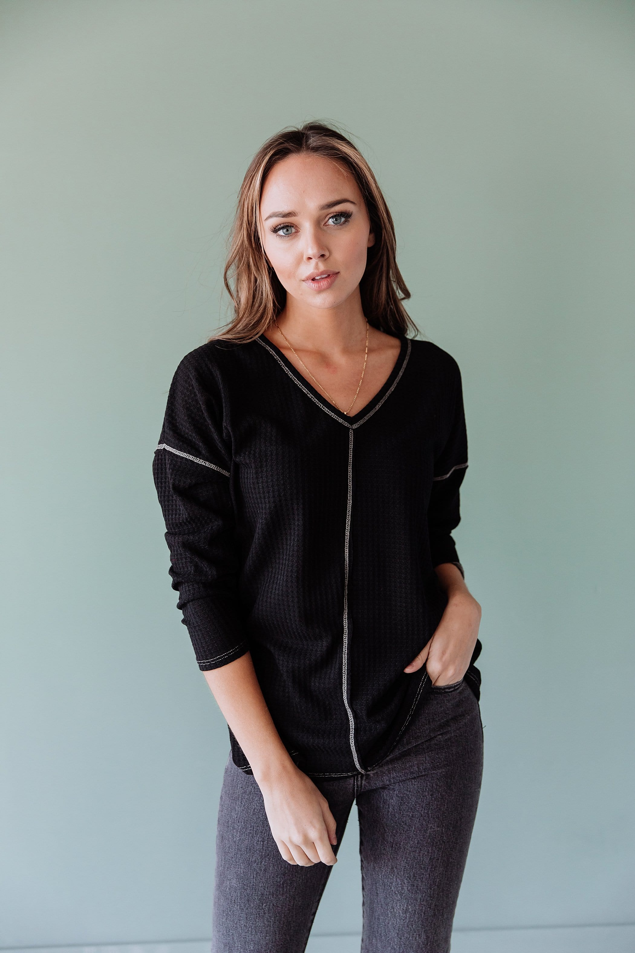 The Lola Waffle Top in Black and Charcoal