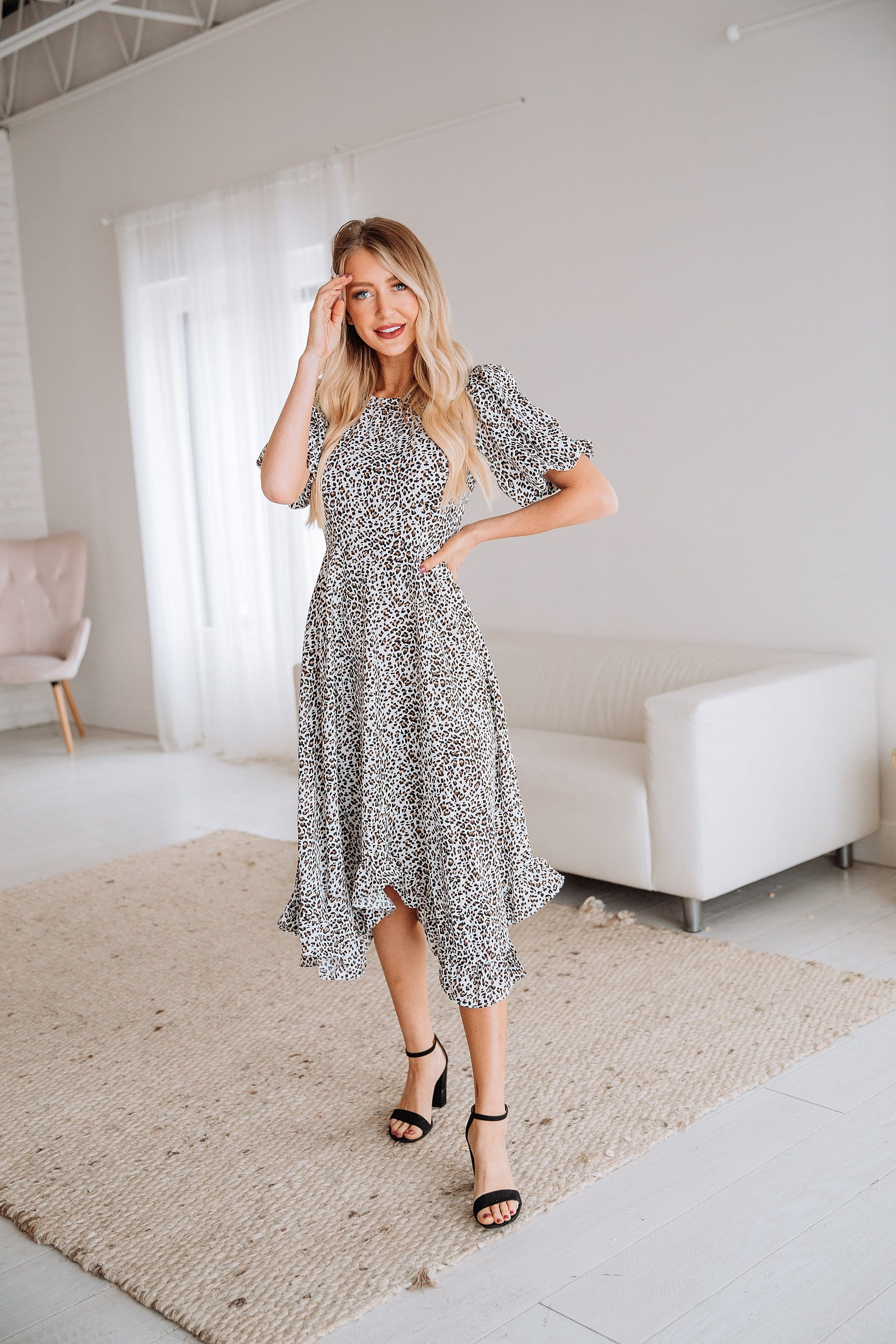 The Fia Ruffle Hem Midi Dress in Animal Print