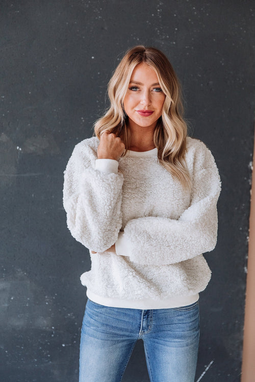 The Jamie Sherpa Sweater in Ivory and Taupe