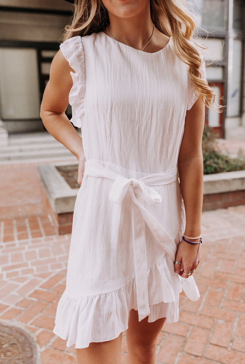 The Meadow Ruffle Dress in White