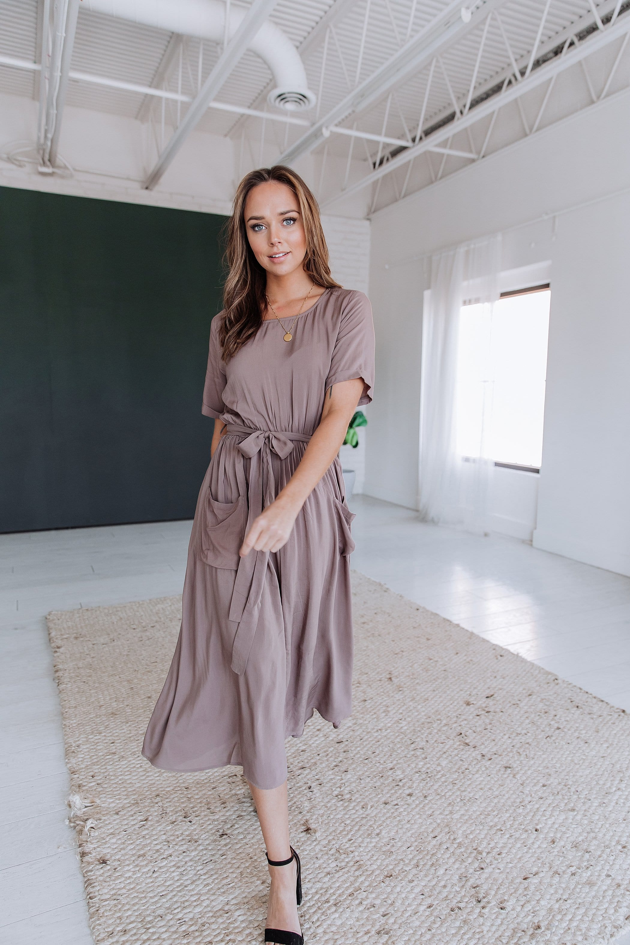 The Mercy Belted Midi Dress in Mocha