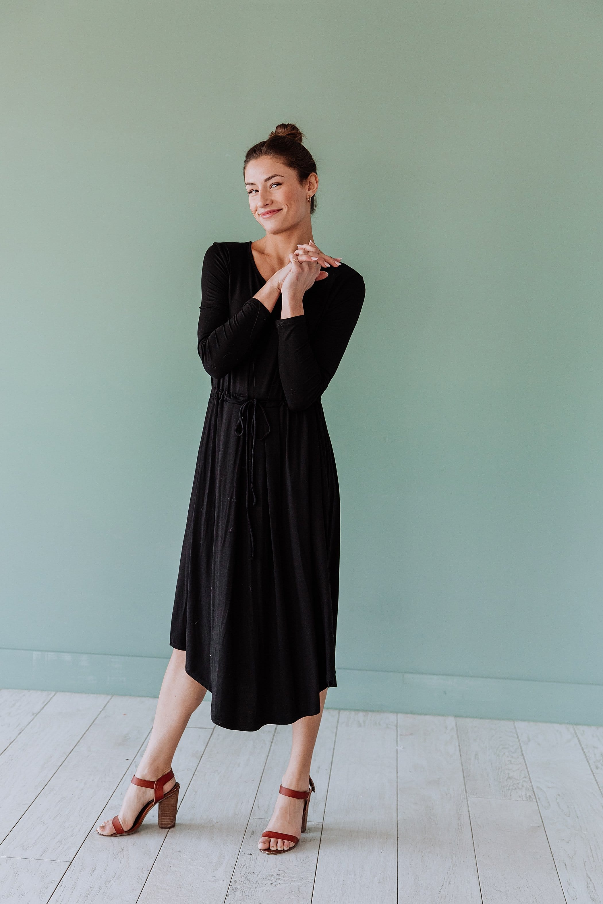 The Drew Midi Knit Dress in Black and Navy