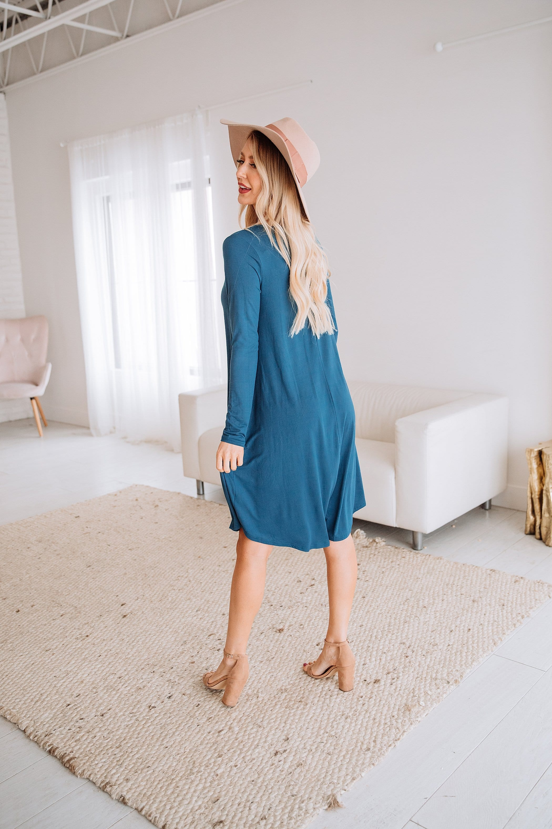 The Albany Midi Dress in Teal and Wine