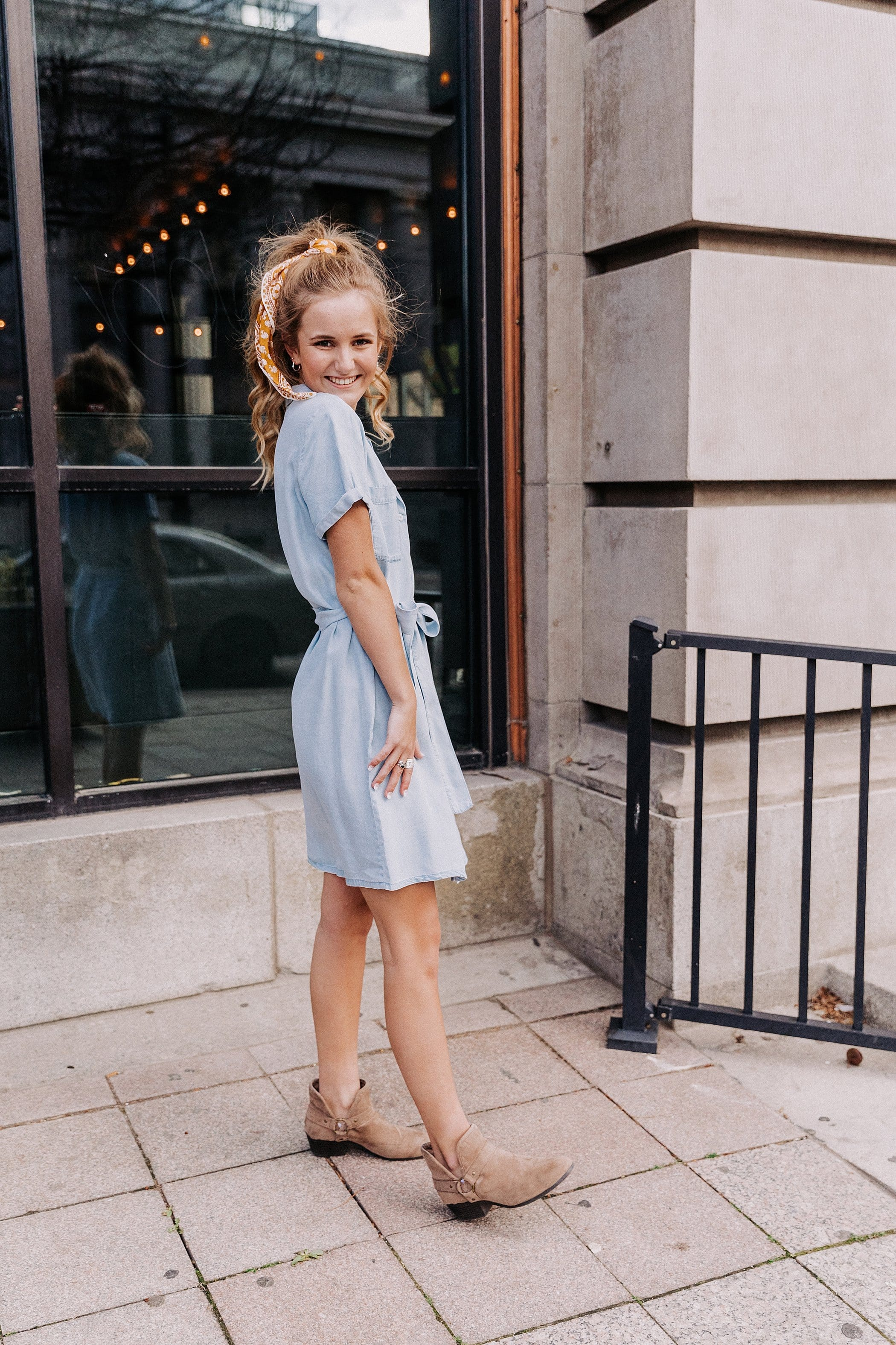The Worthington Chambray Dress in Denim