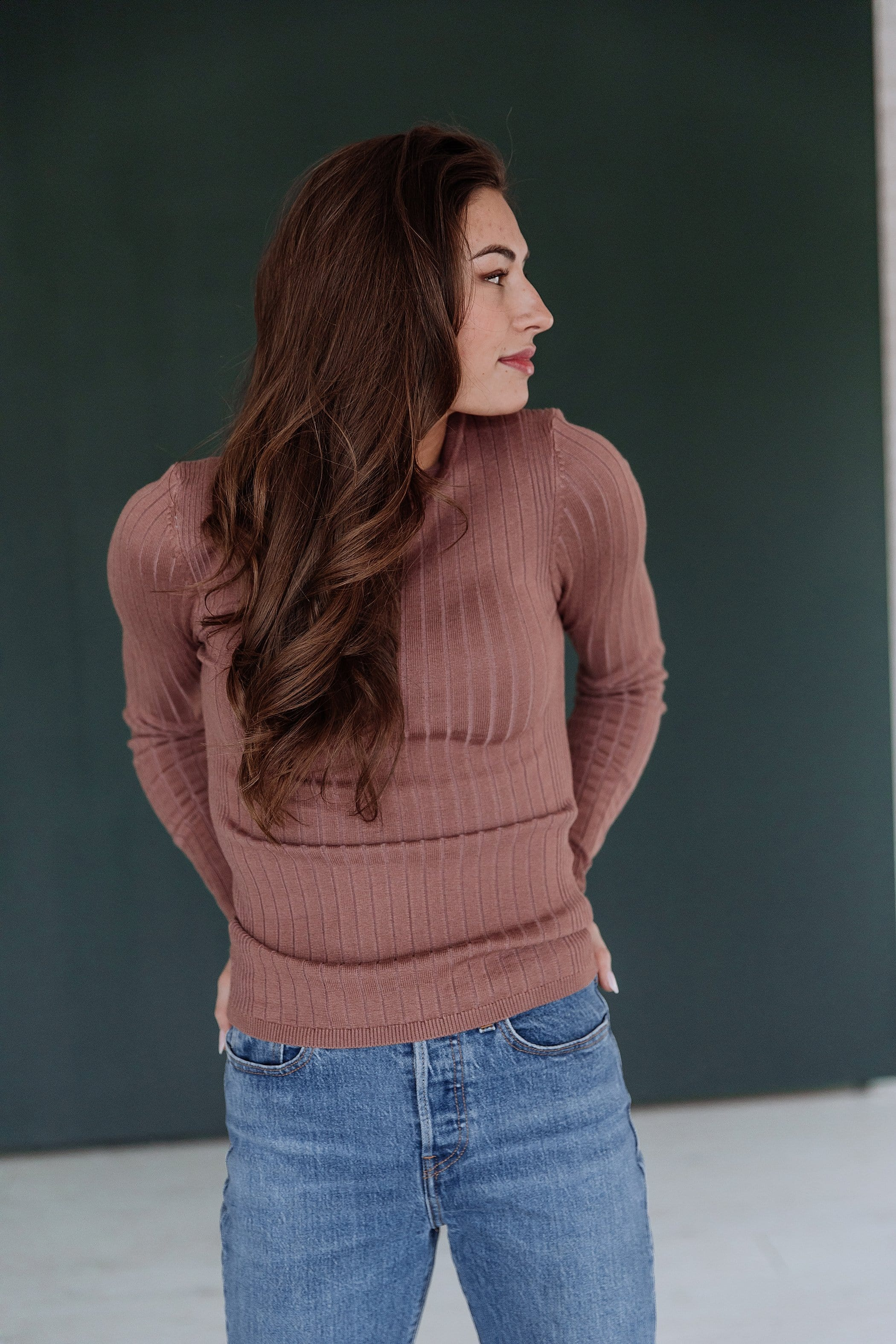 The Camilla Ribbed Sweater in Mauve and Rust