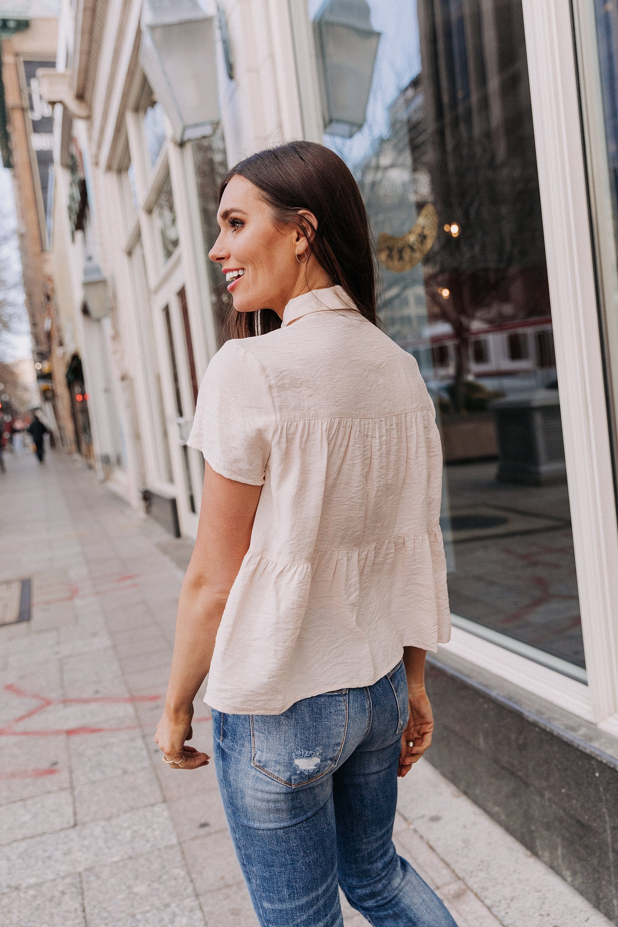 The Joye Button Down Top in Cream