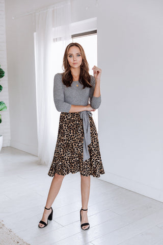 The Celine Pleated Animal Print Skirt in Mauve and Teal