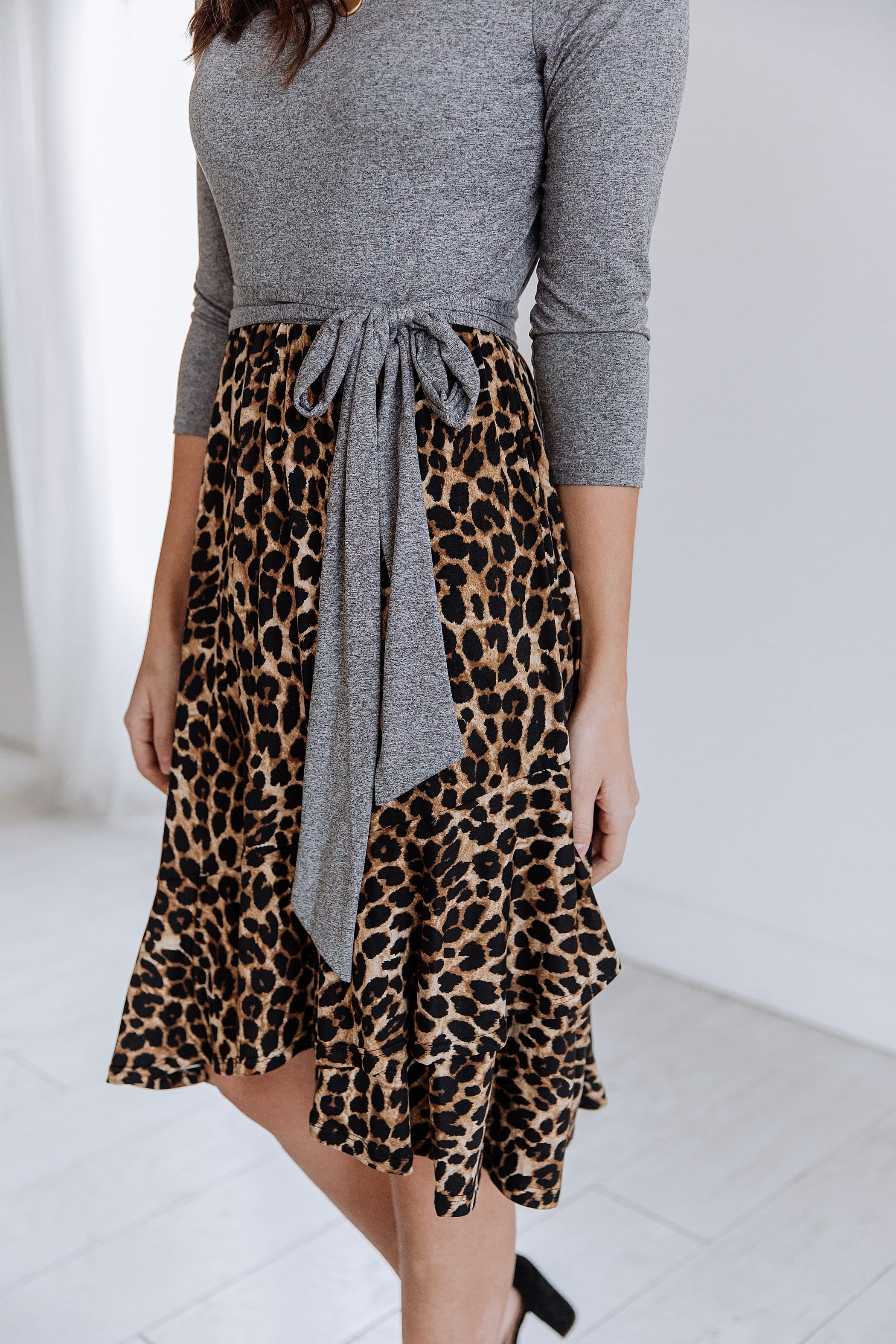 The Brexley Leopard Print Dress in Grey