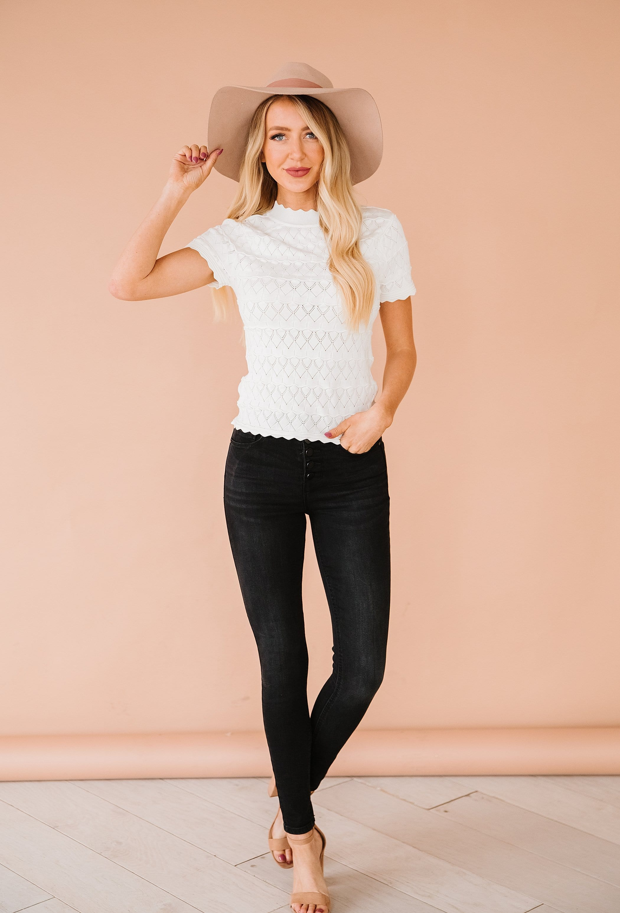 The Annette Scalloped Edge Top in Ivory