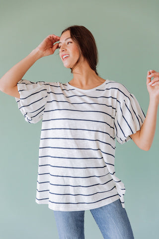 The Danae Striped Dress in Grey
