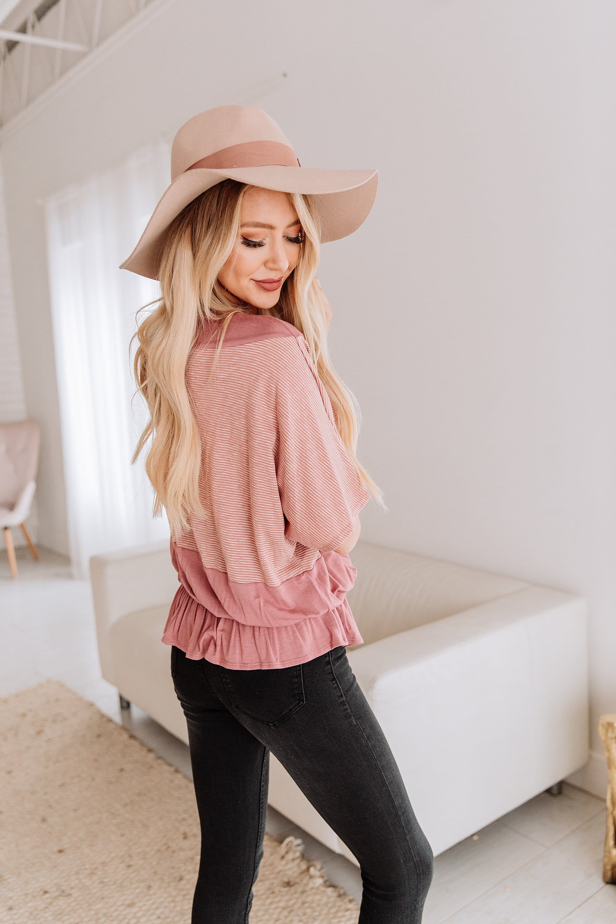 The Wisteria Stripe Top in Grey and Mauve
