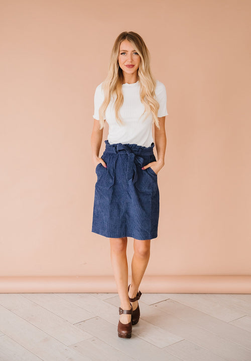 The Riverly Corduroy Skirt in Dark Blue