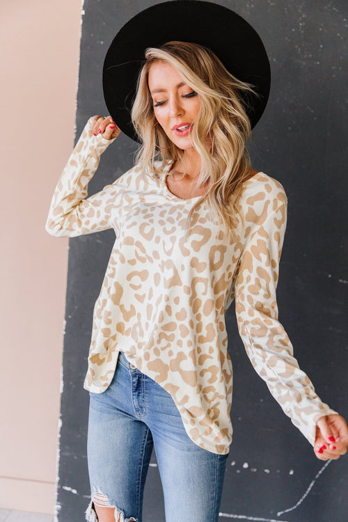 The Amelia Animal Print Top in Taupe