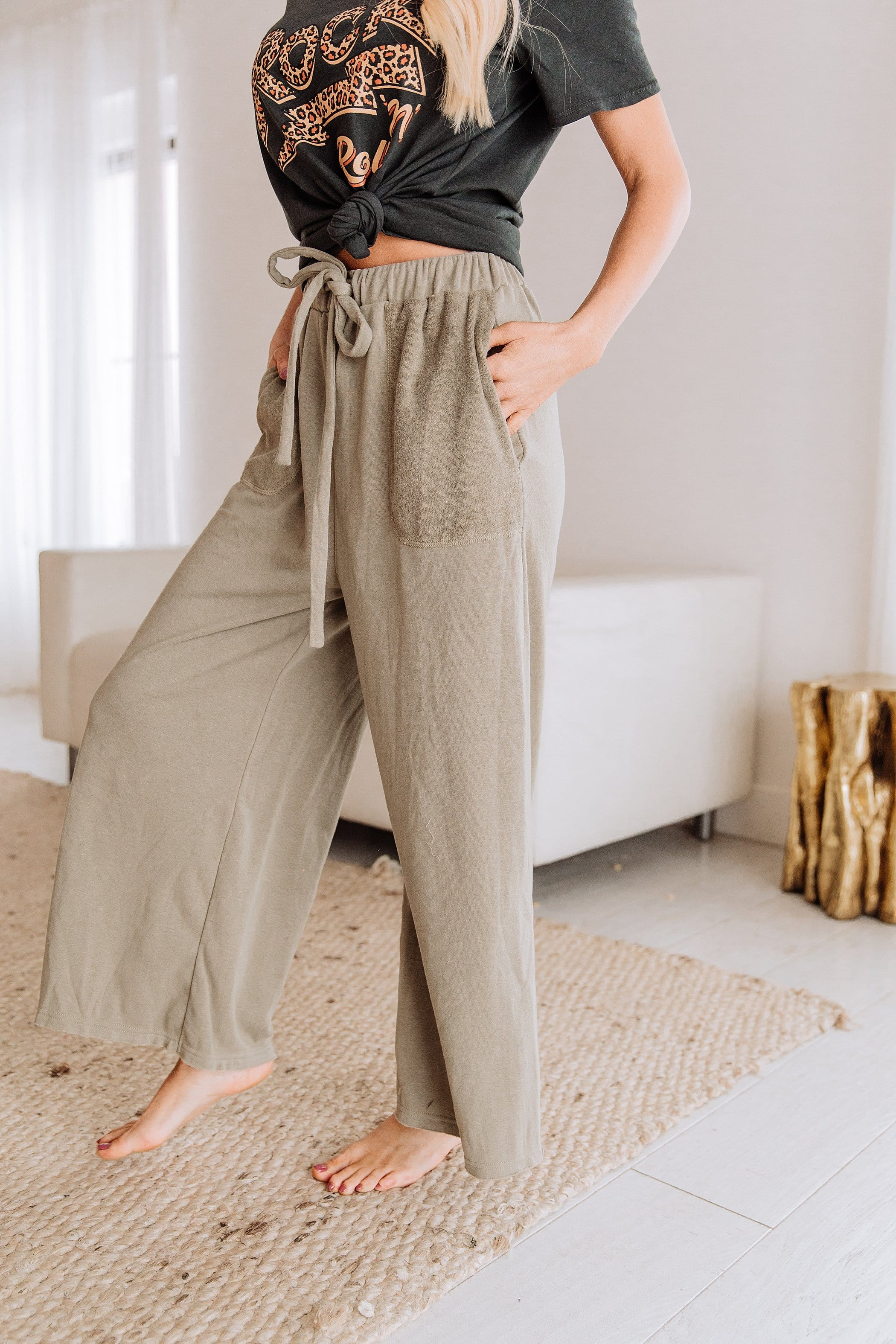 The Lark Wide Leg Pants in Blueberry and Olive