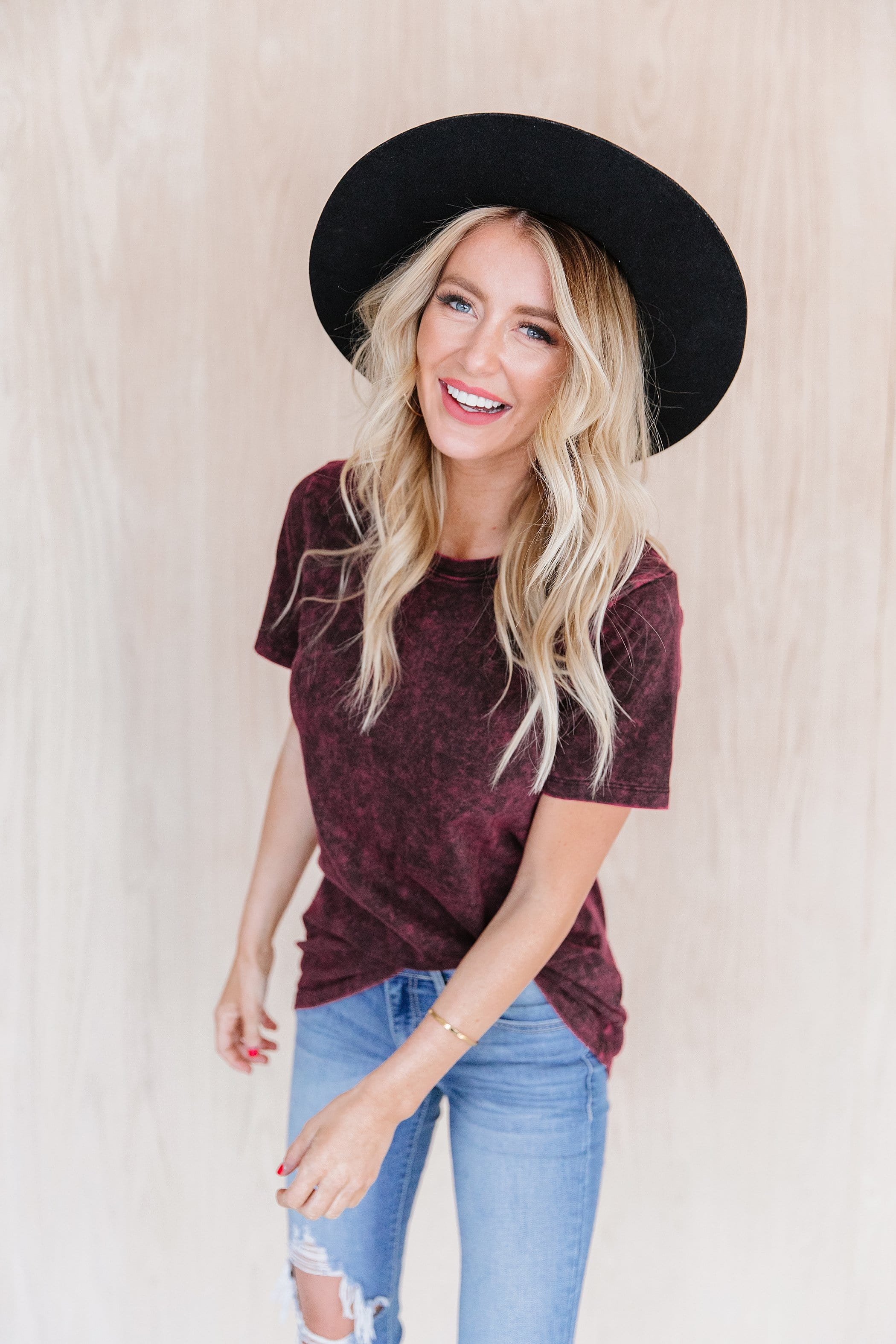 The Nicks Mineral Washed Top in Burgundy, Charcoal, Hunter Green and Plum