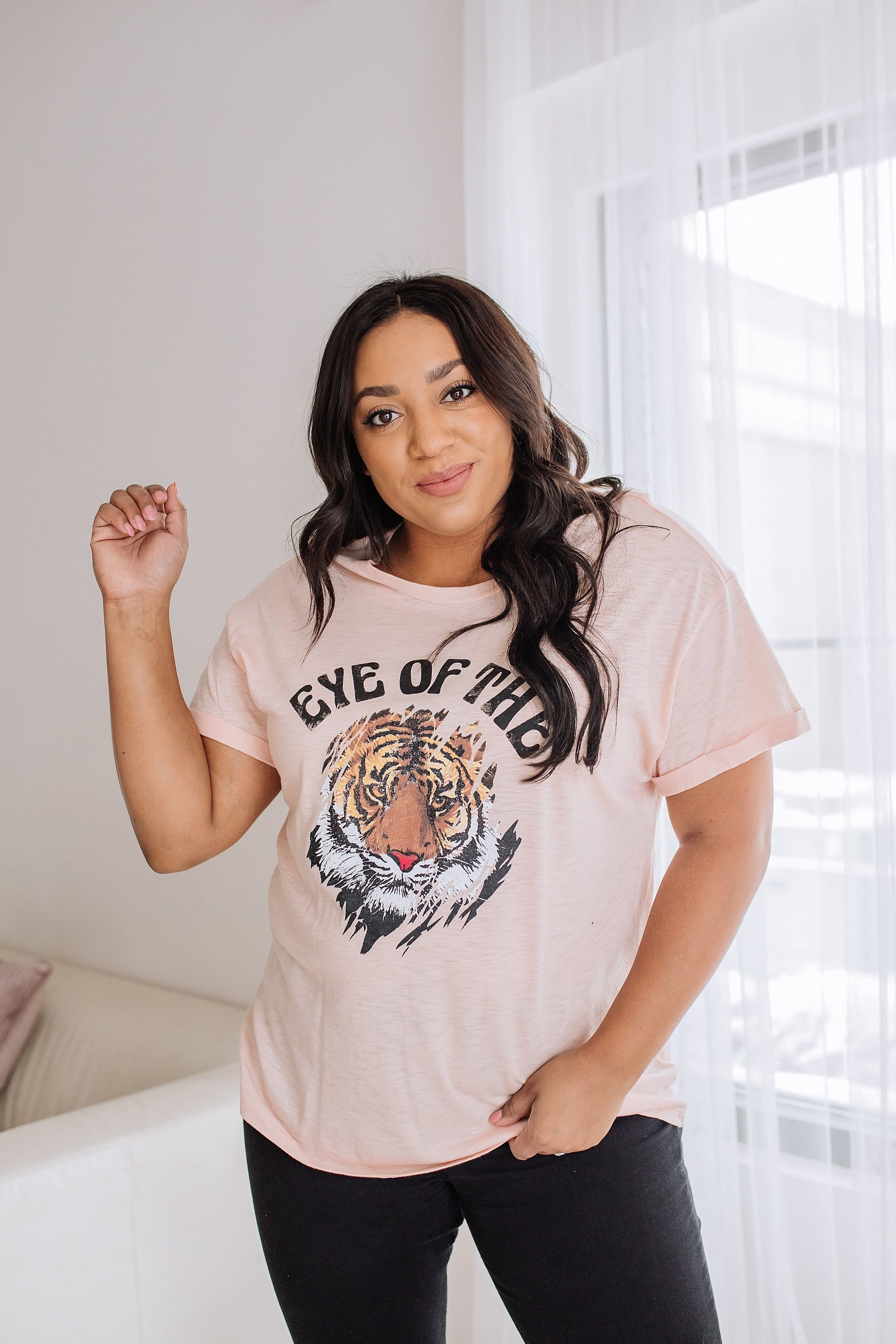 The Eye of the Tiger Graphic Top in Peach