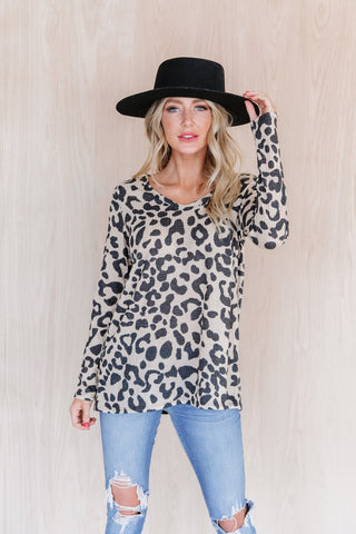 The Mallory Knit Sweater in Animal Print