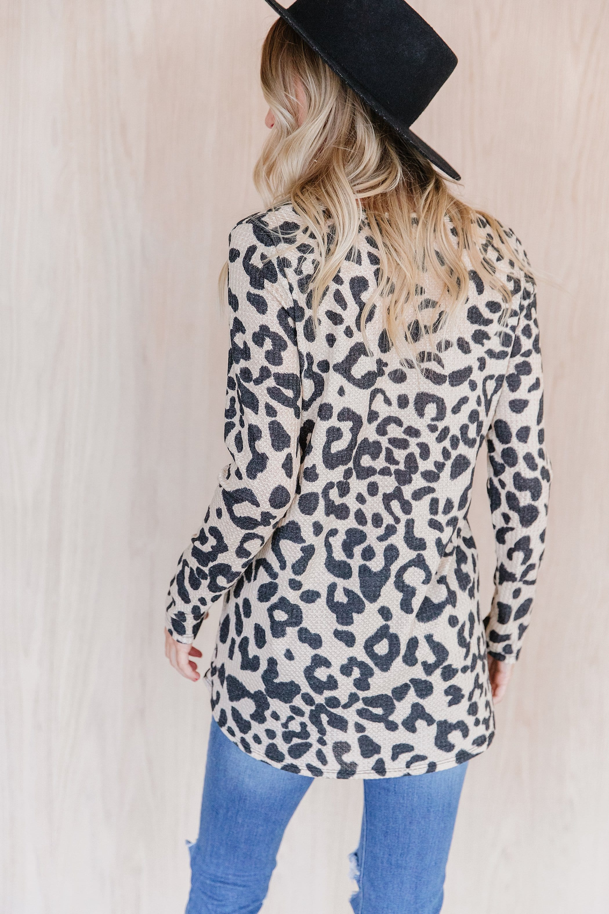 The Kylie Thermal Waffle Top in Animal Print