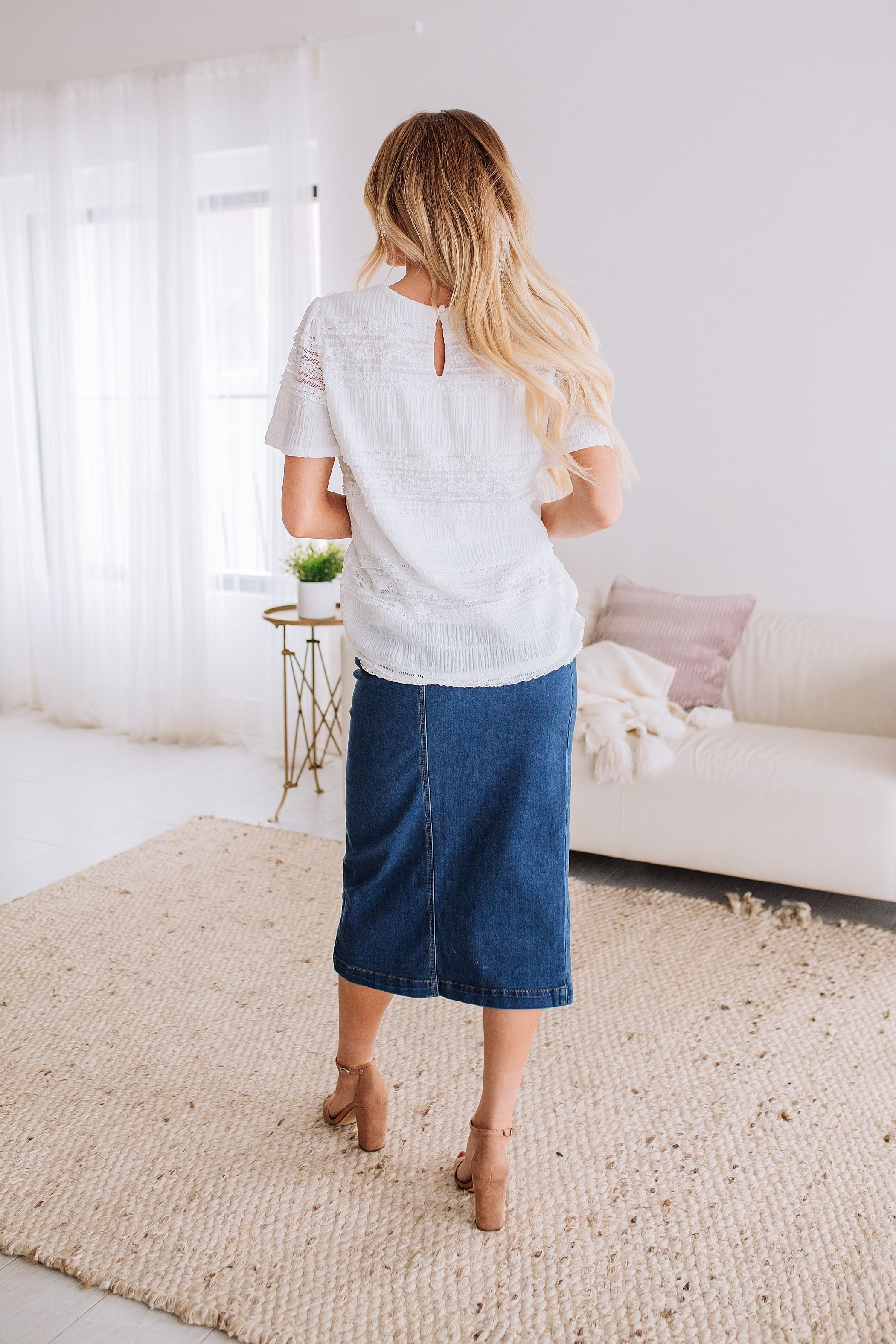 The Eva Button Down Midi Skirt in Denim