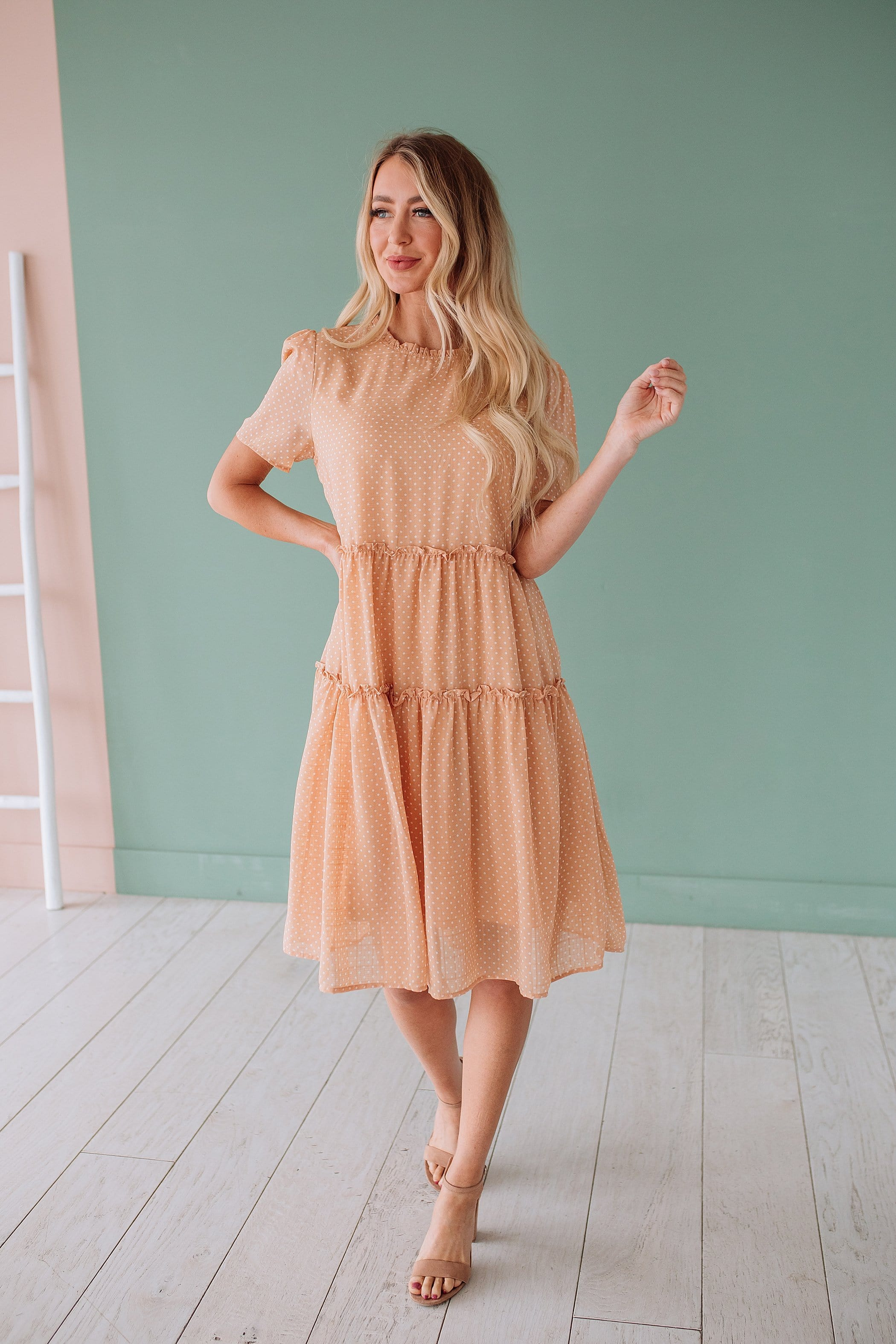 The James Tiered Dress in Tangerine
