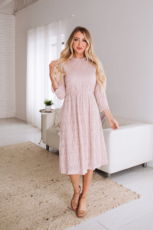 The Alexandra Lace Dress in Mauve