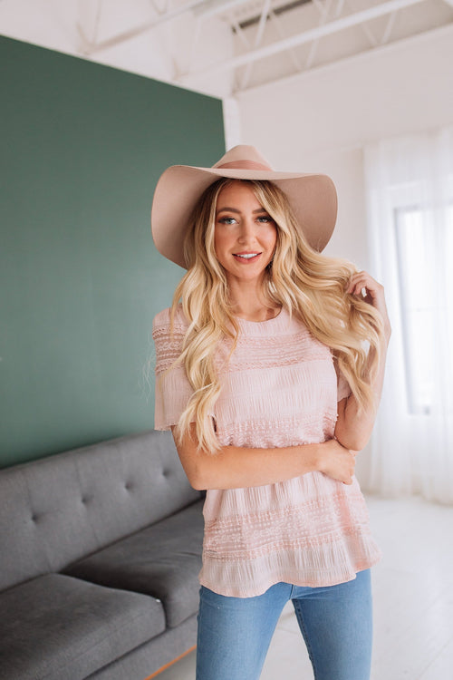 The Audrina Lace Trim Top in Blush and Ivory