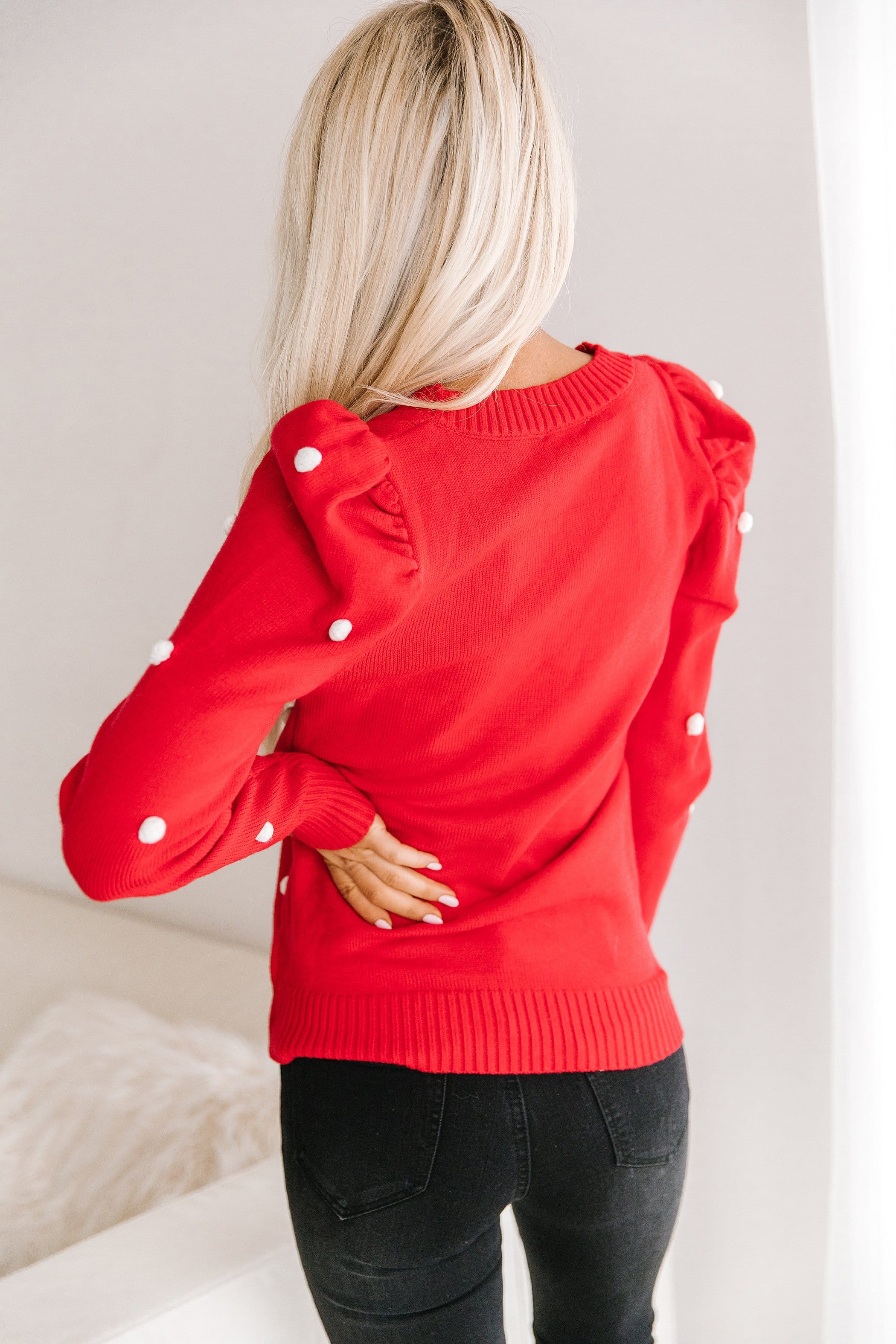 The Adore Pom Pom Sweater in Red and White