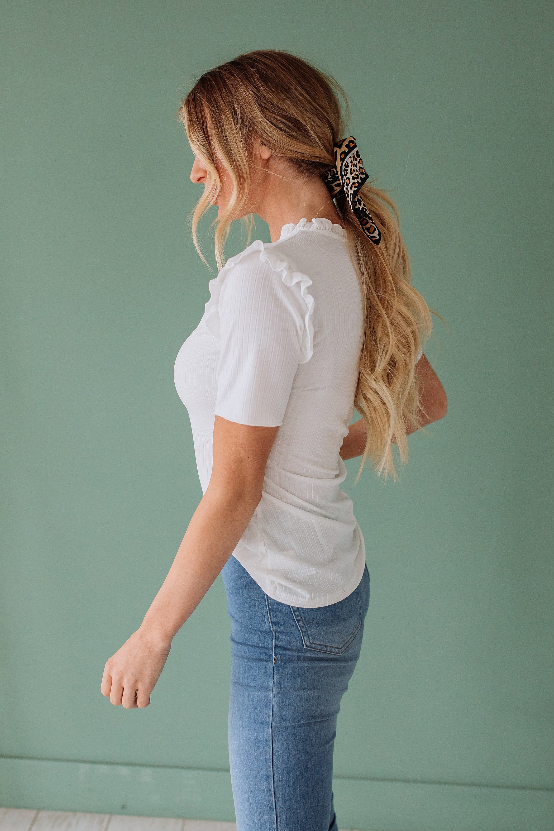 The Molly Ruffle Top in Black and Off White
