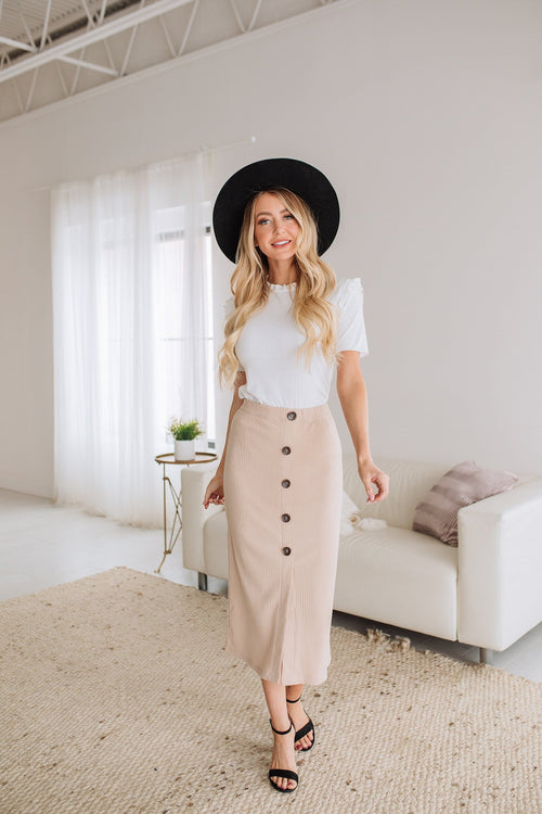 The Juniper Pencil Skirt in Taupe