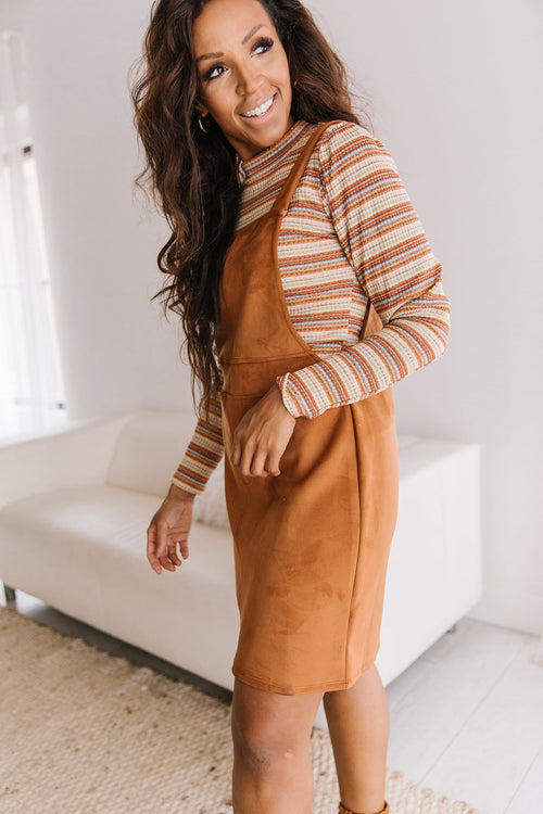 The Bowden Faux Suede Overall Dress in Camel