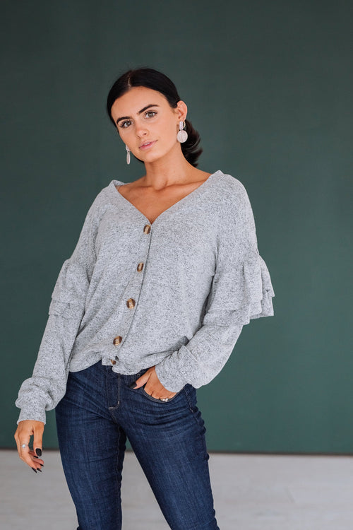The Michaela Button Down Cardigan in Grey