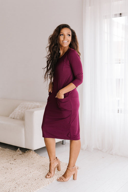 The Jude Pocket Dress in Burgundy and Olive
