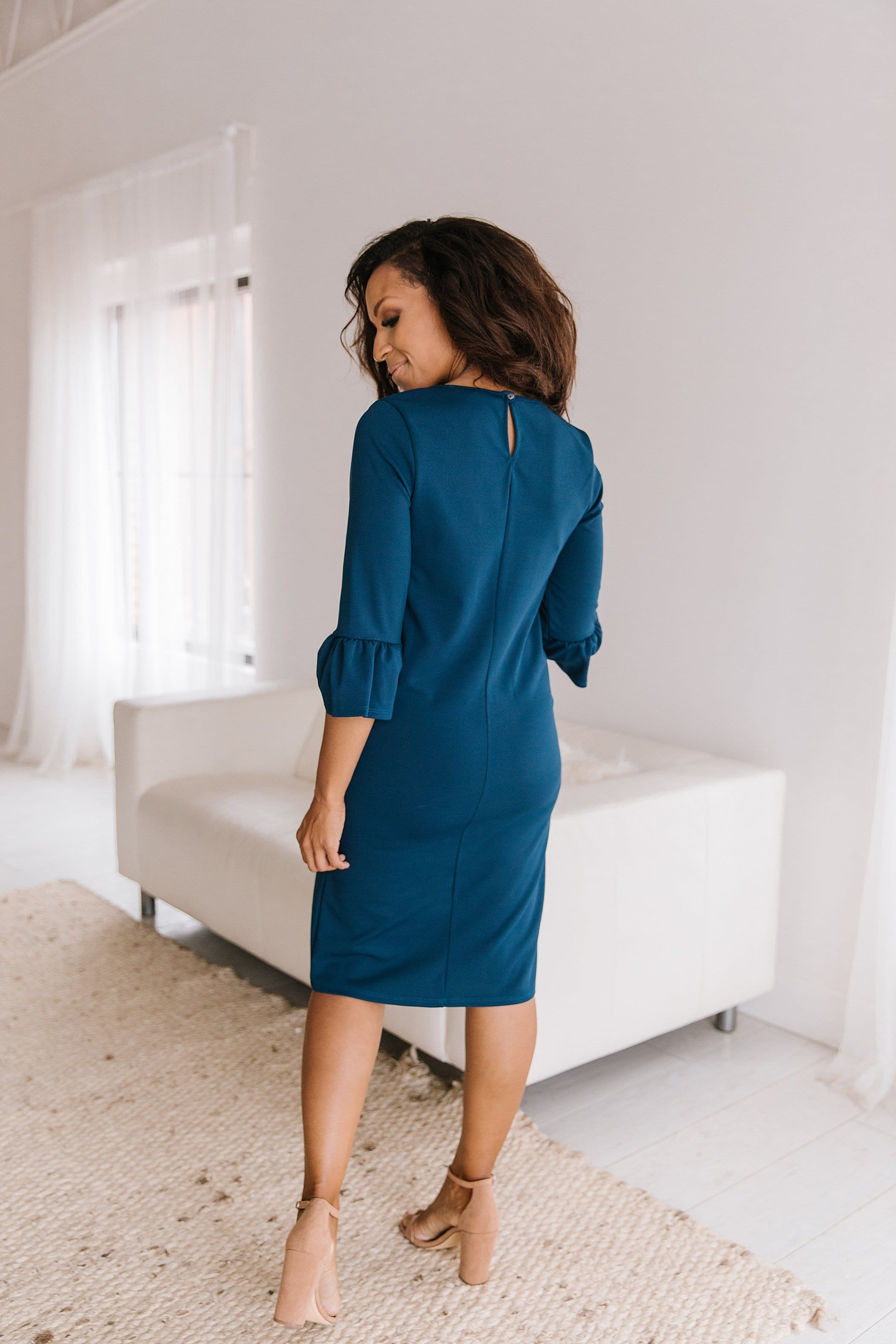 The Corrie Shift Dress in Teal