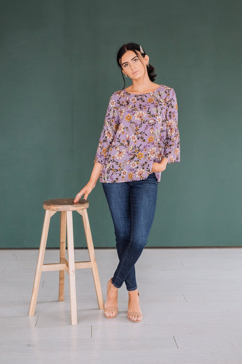 The Cameya Floral Top in Lilac
