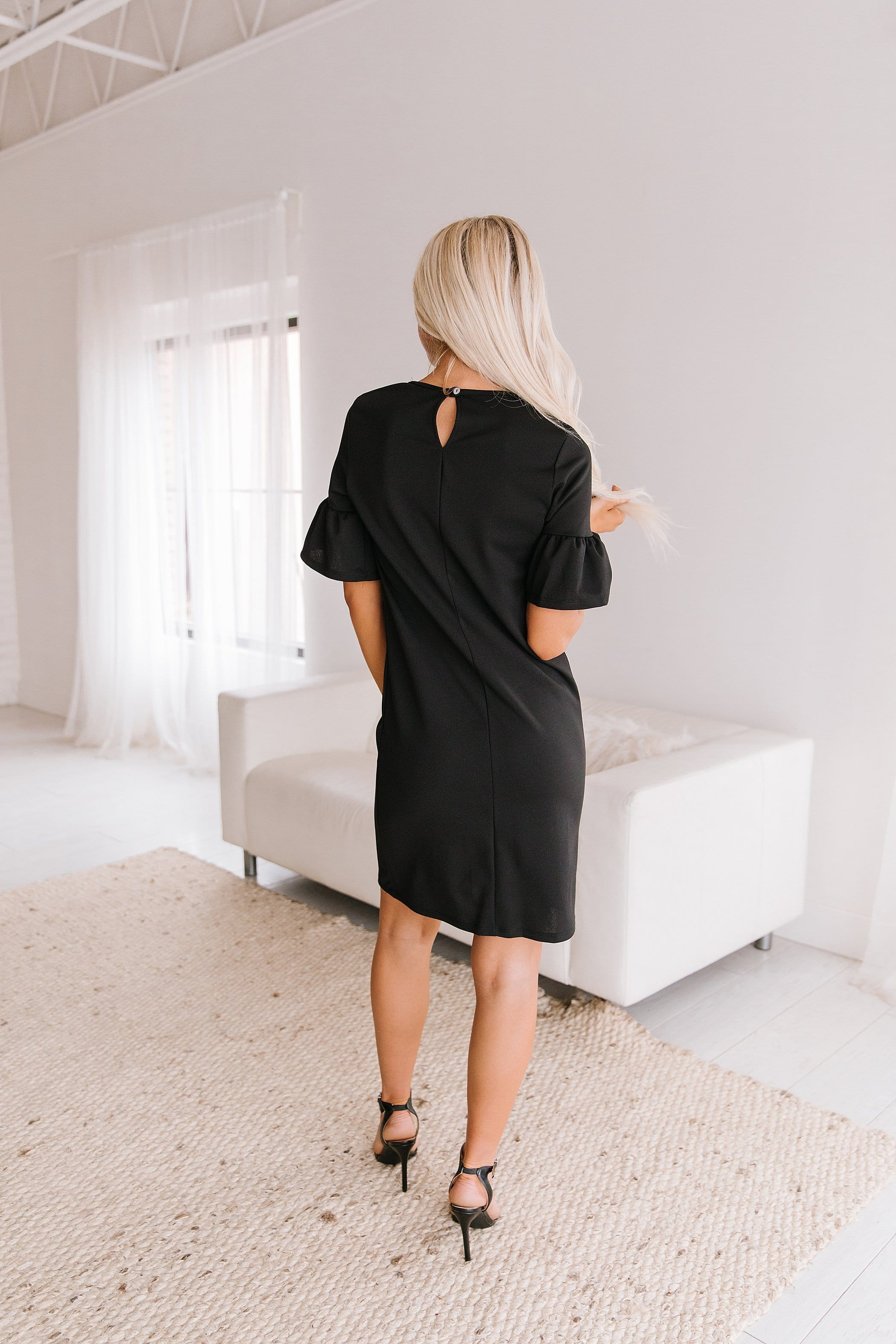 The Angelia Ruffle Sleeve Dress in Black and Mauve