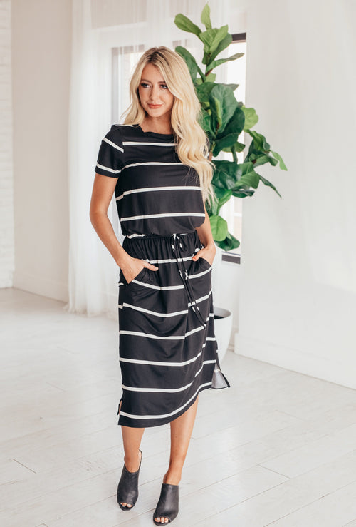 The Eliza Striped Midi Dress in Black