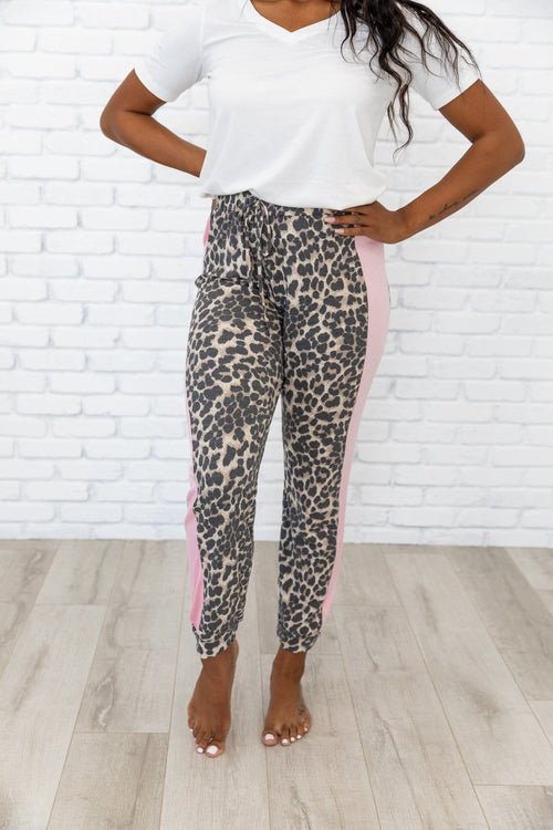 The Danika Thermal Lounge Pants in Animal Print
