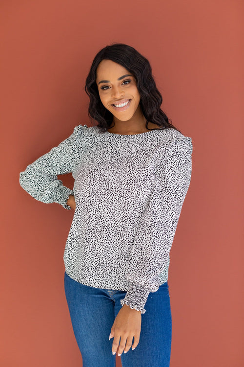 The Bramble Dotted Top in Off White