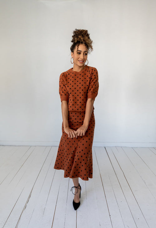 The Everton Dotted Skirt in Caramel