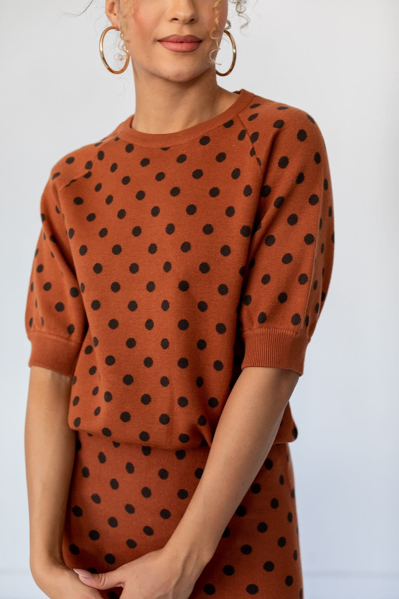 The Everton Dotted Sweater Top in Caramel
