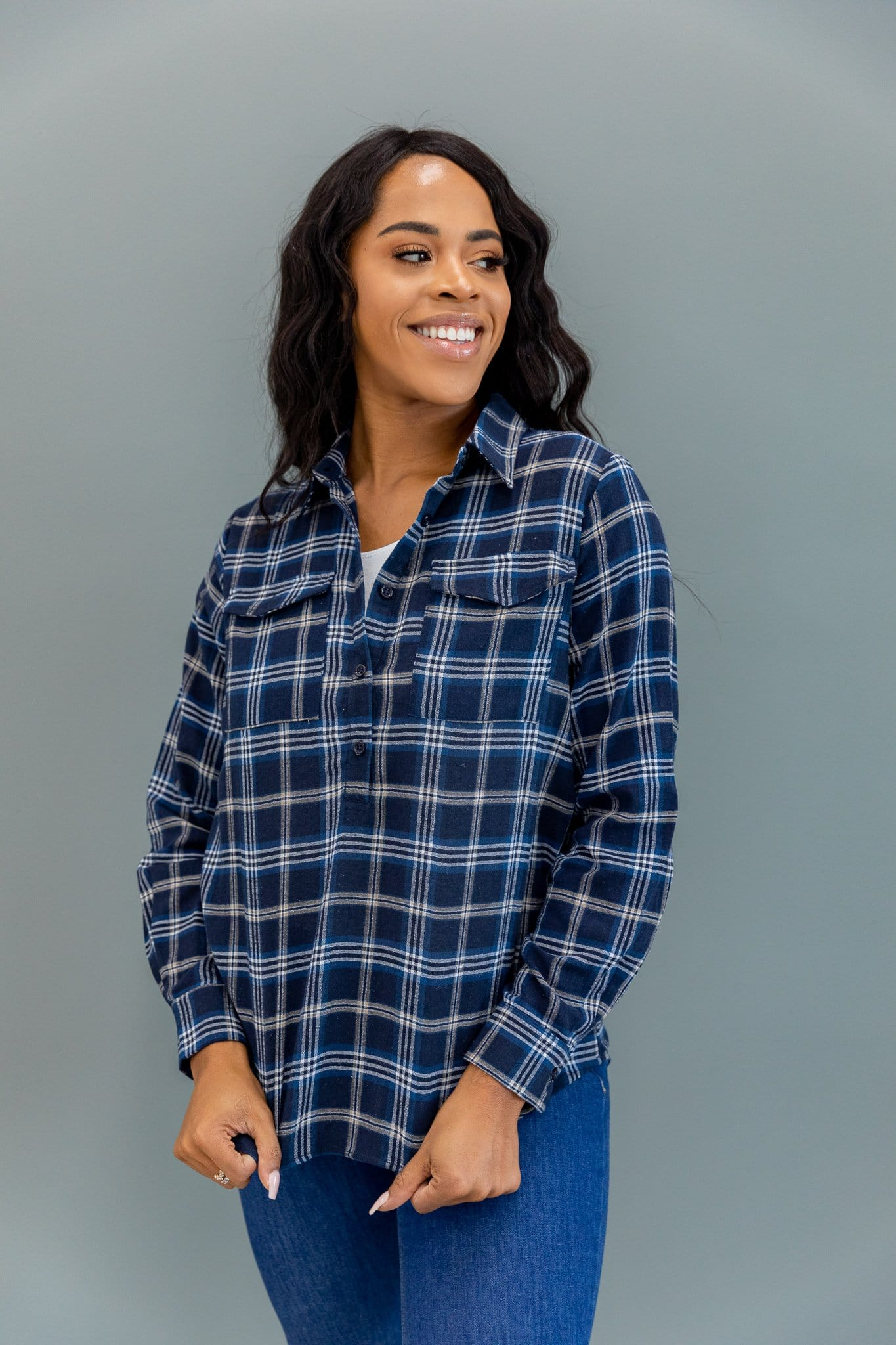 The Leavitt Button Down Plaid Top in Navy