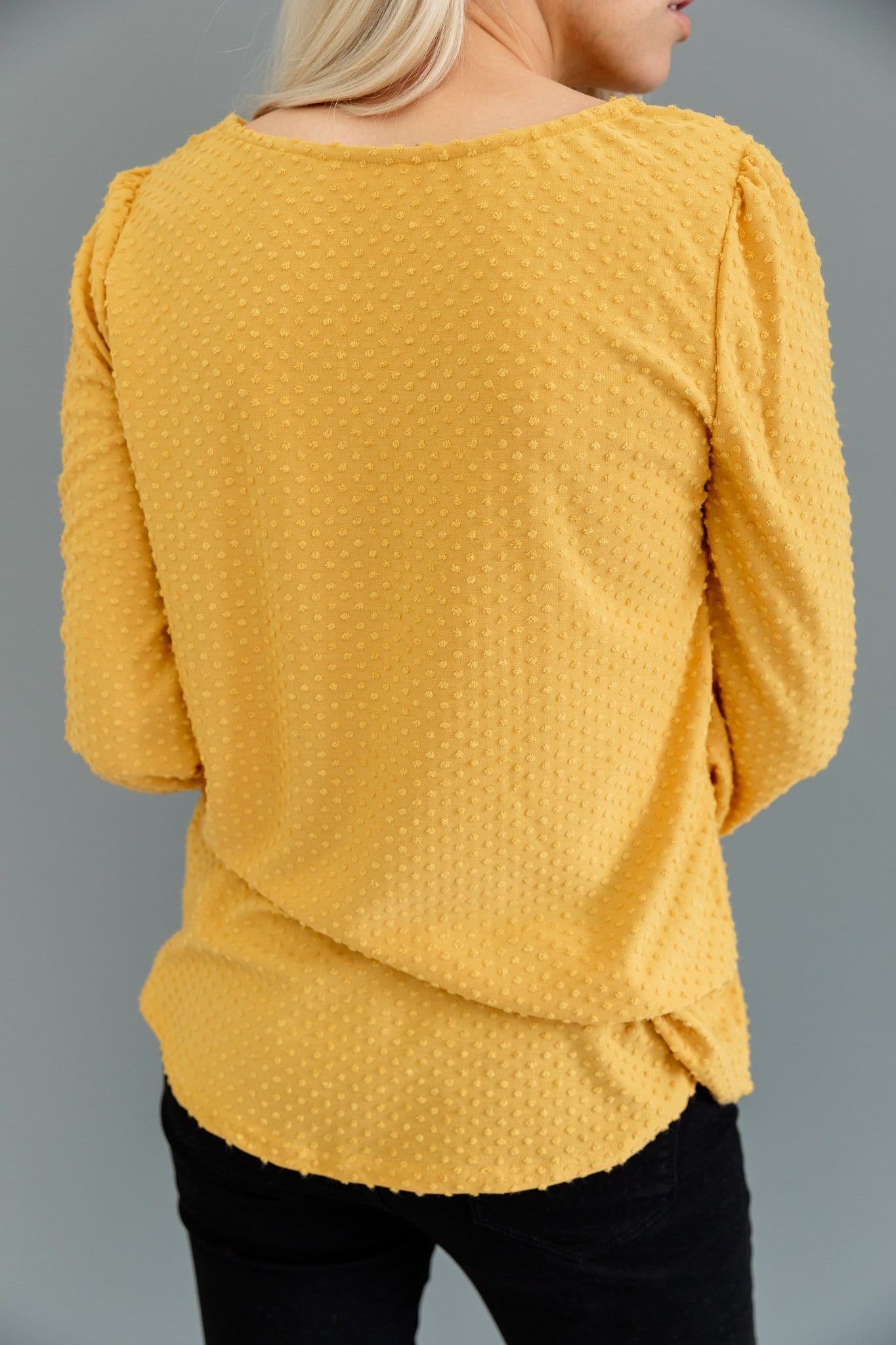 The Paloma Swiss Dot Top in Mustard