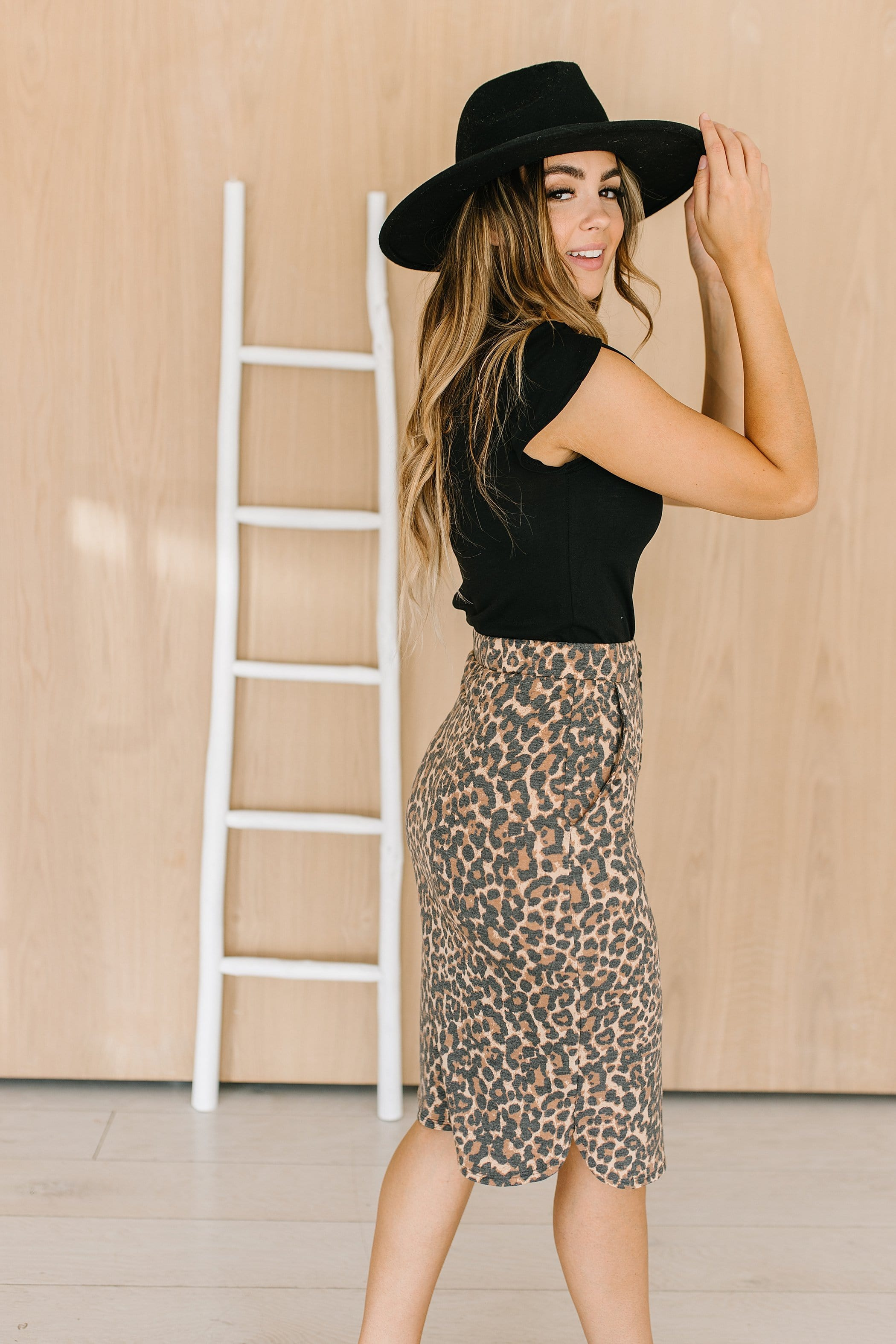 The Adana Drawstring Skirt in Animal Print