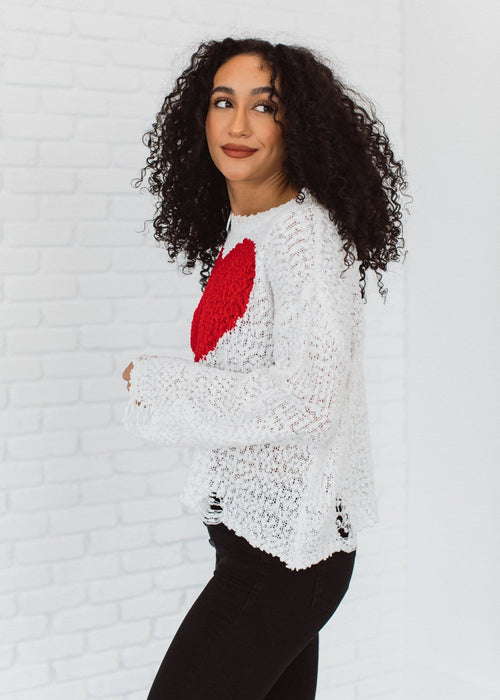 The Adore You Popcorn Sweater in White
