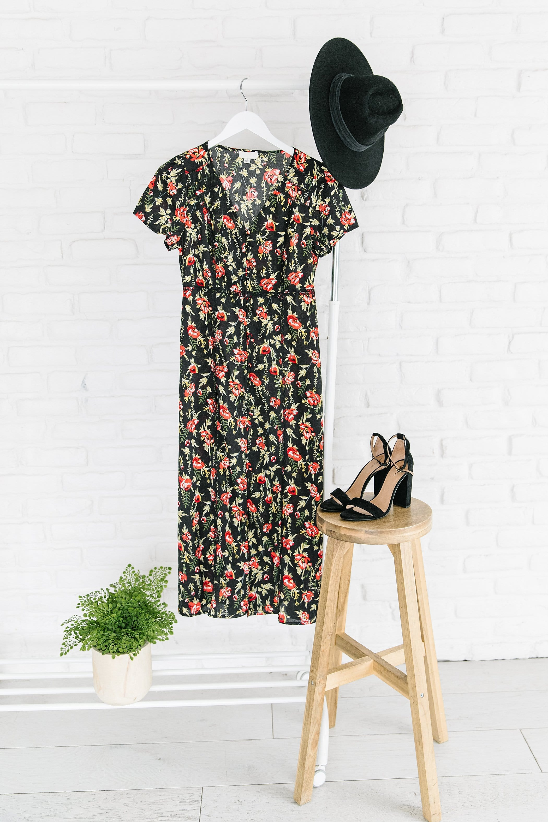 The Alden Floral Midi Dress in Black