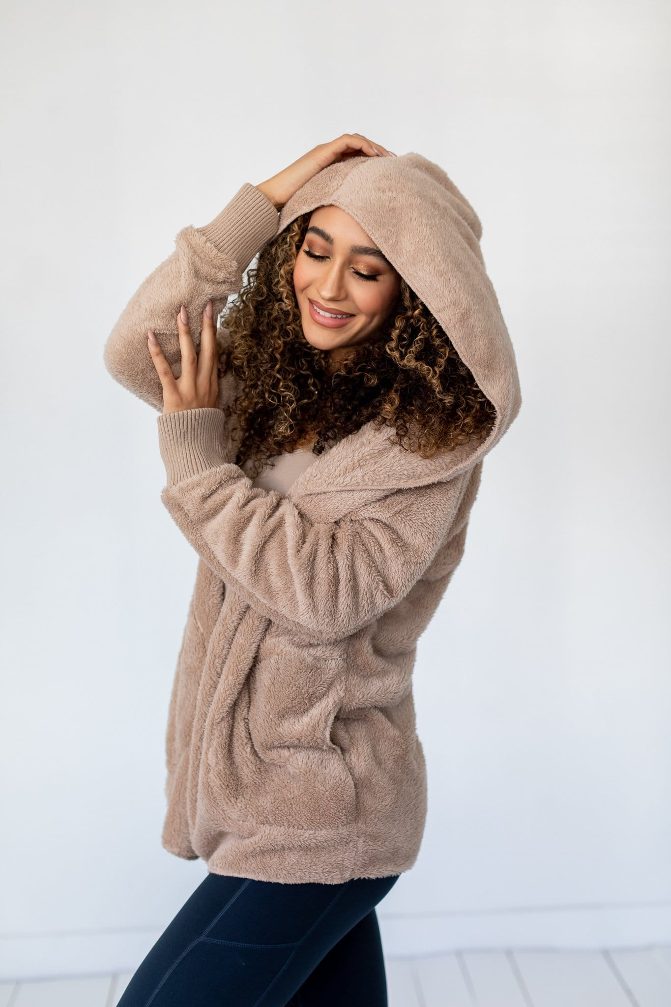 The Aldie Plush Hooded Jacket in Taupe