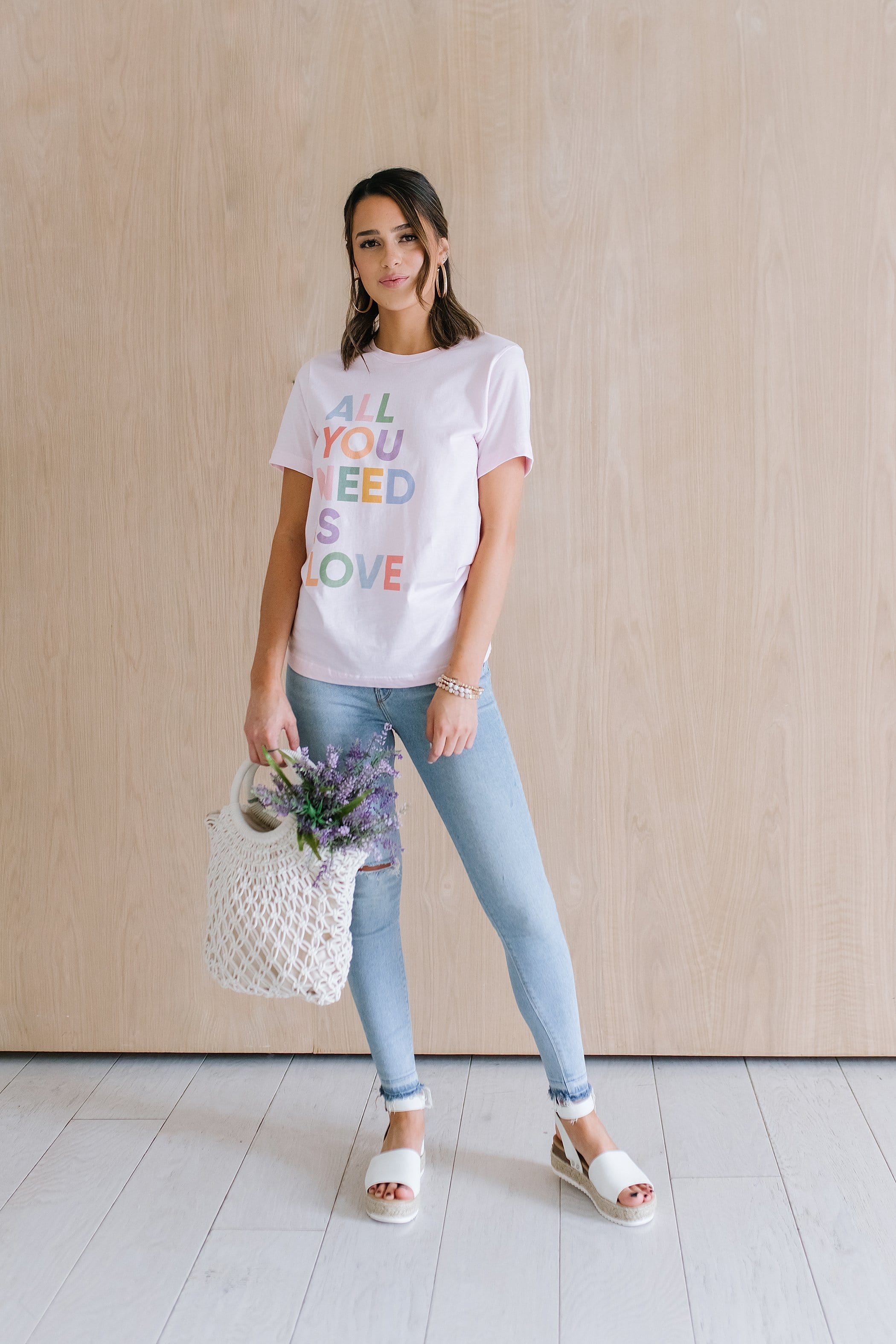 The All You Need is Love Graphic Top in Pink