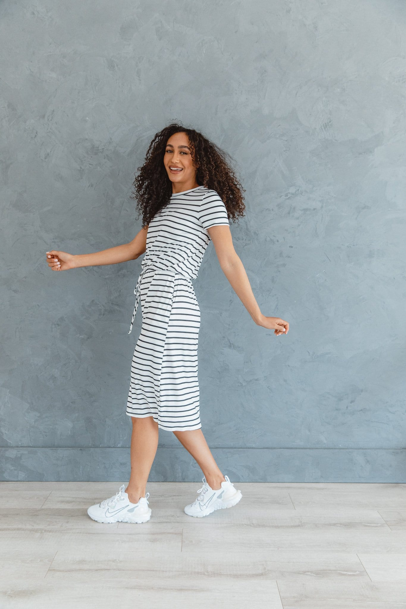 The Allison Striped Casual Dress in White with Black