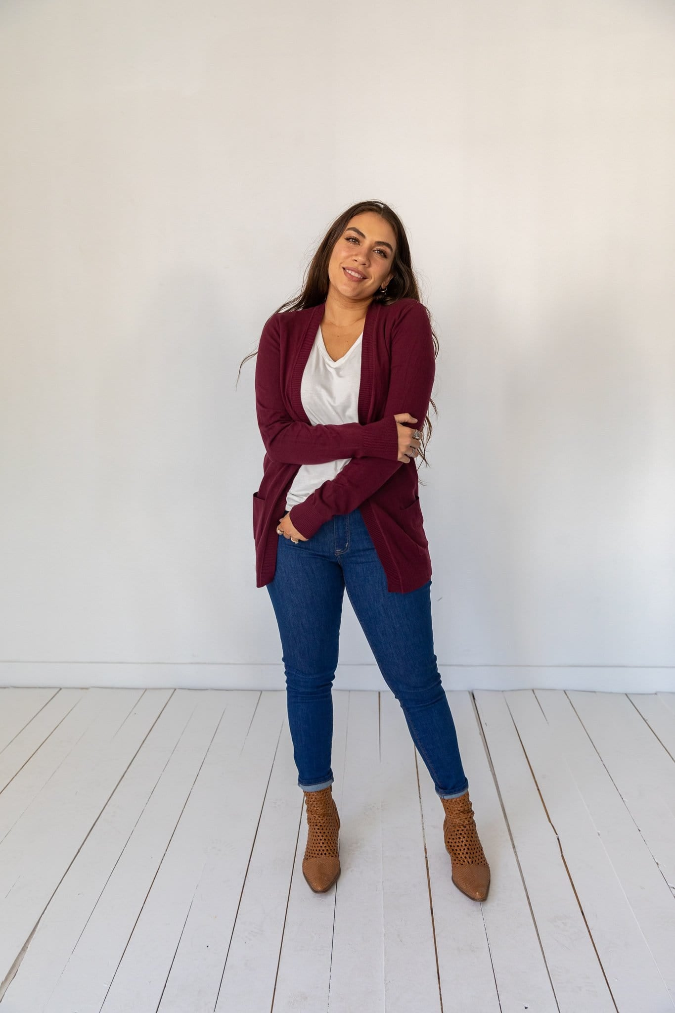 The Allston Soft Knit Cardigan in Chive, Mulberry and Oatmeal