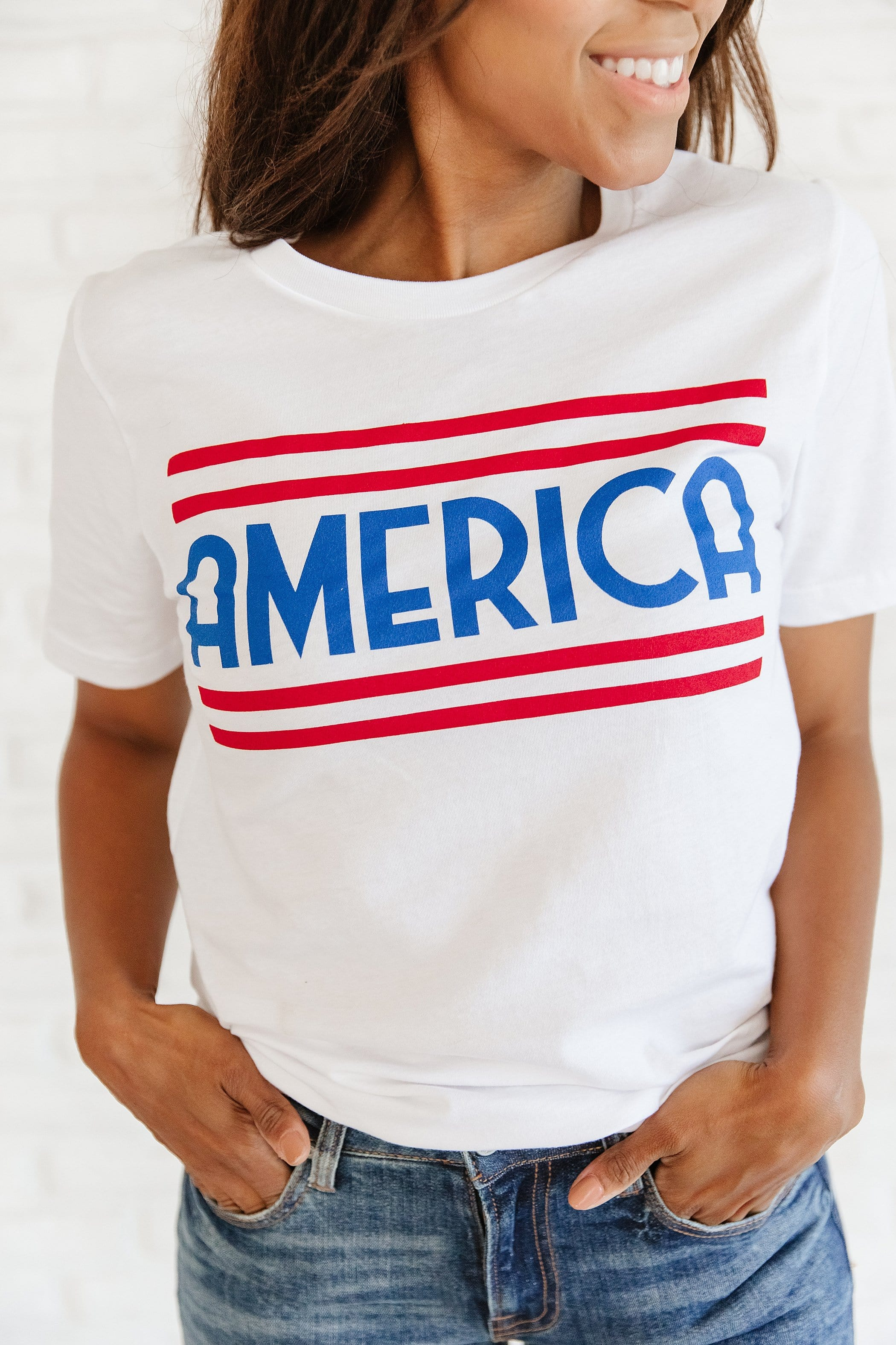The America Graphic Top in White